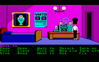 Maniac Mansion Atari ST Bernard uses Doctor Fred's radio to contact the Meteor Police.