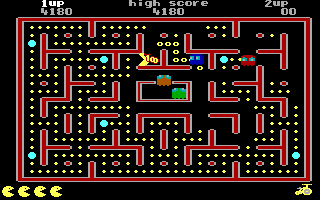 Jr. Pac-Man DOS Get 1000 Points from Bonus Item (EGA)