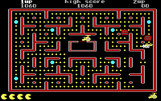 Jr. Pac-Man DOS Get 400 Points from Monster (EGA)