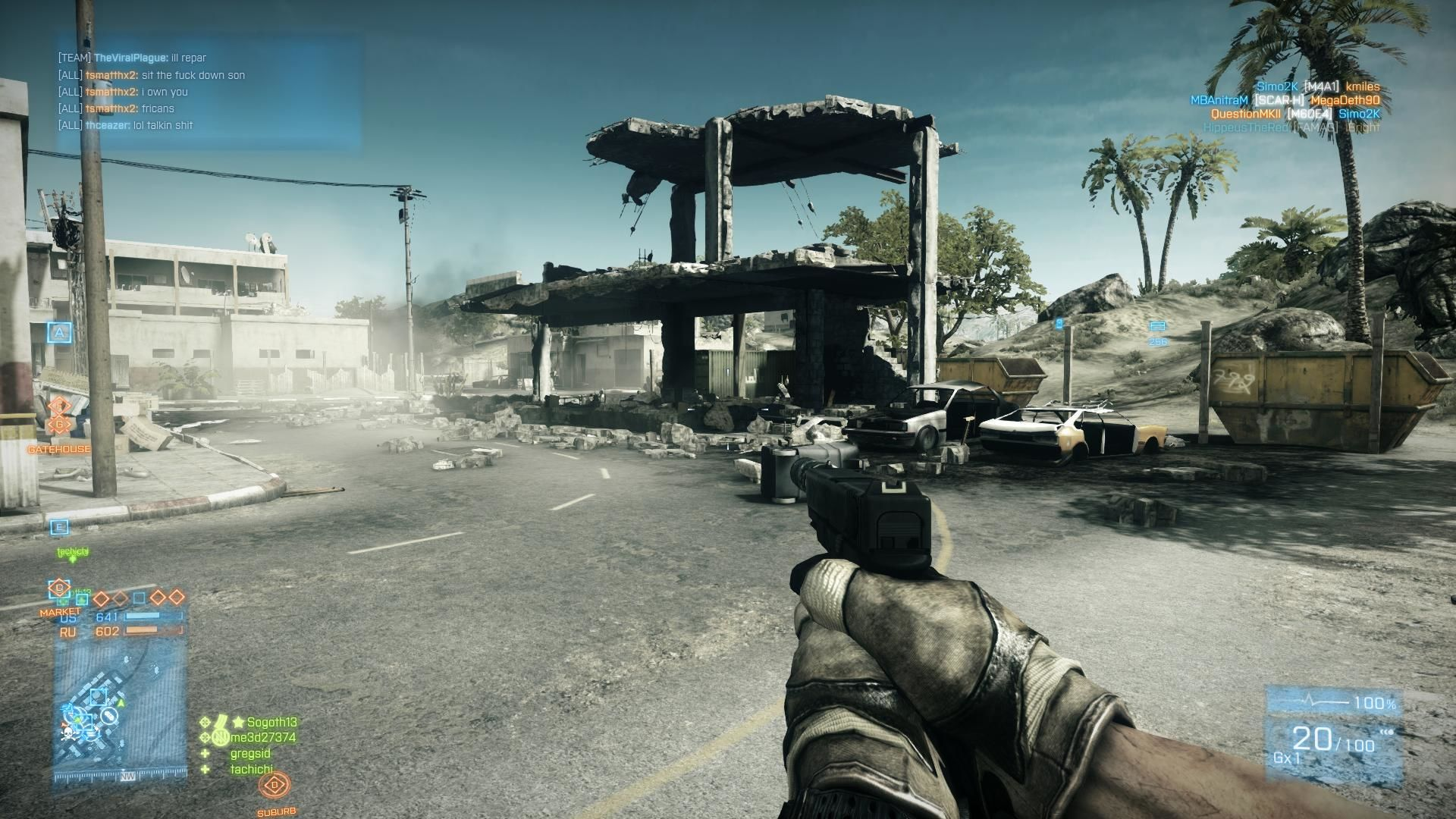 Battlefield 3: Back to Karkand Windows Near US base entrance to Karkand.  Most buildings can be destroyed to empty shells