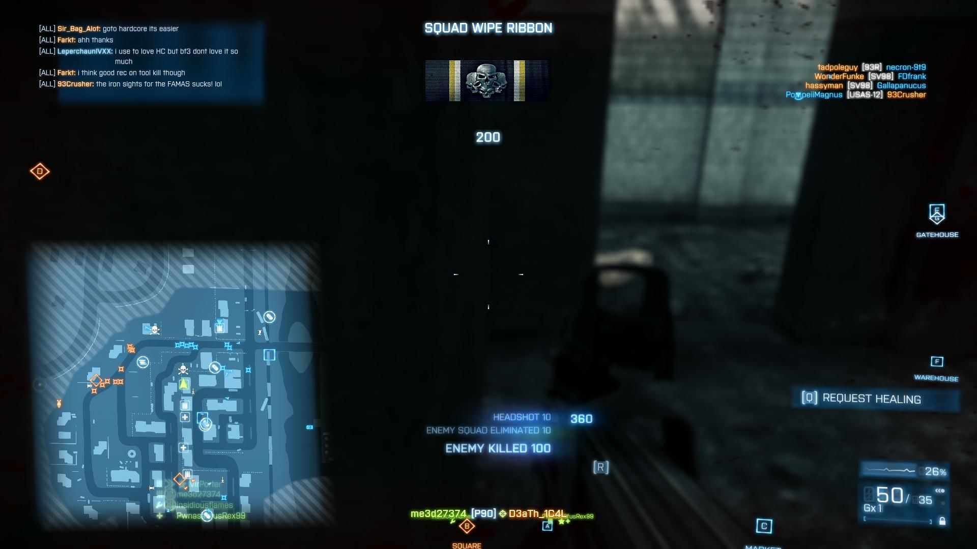 Battlefield 3: Back to Karkand Windows Killed everyone in the squad of four - wipe ribbon