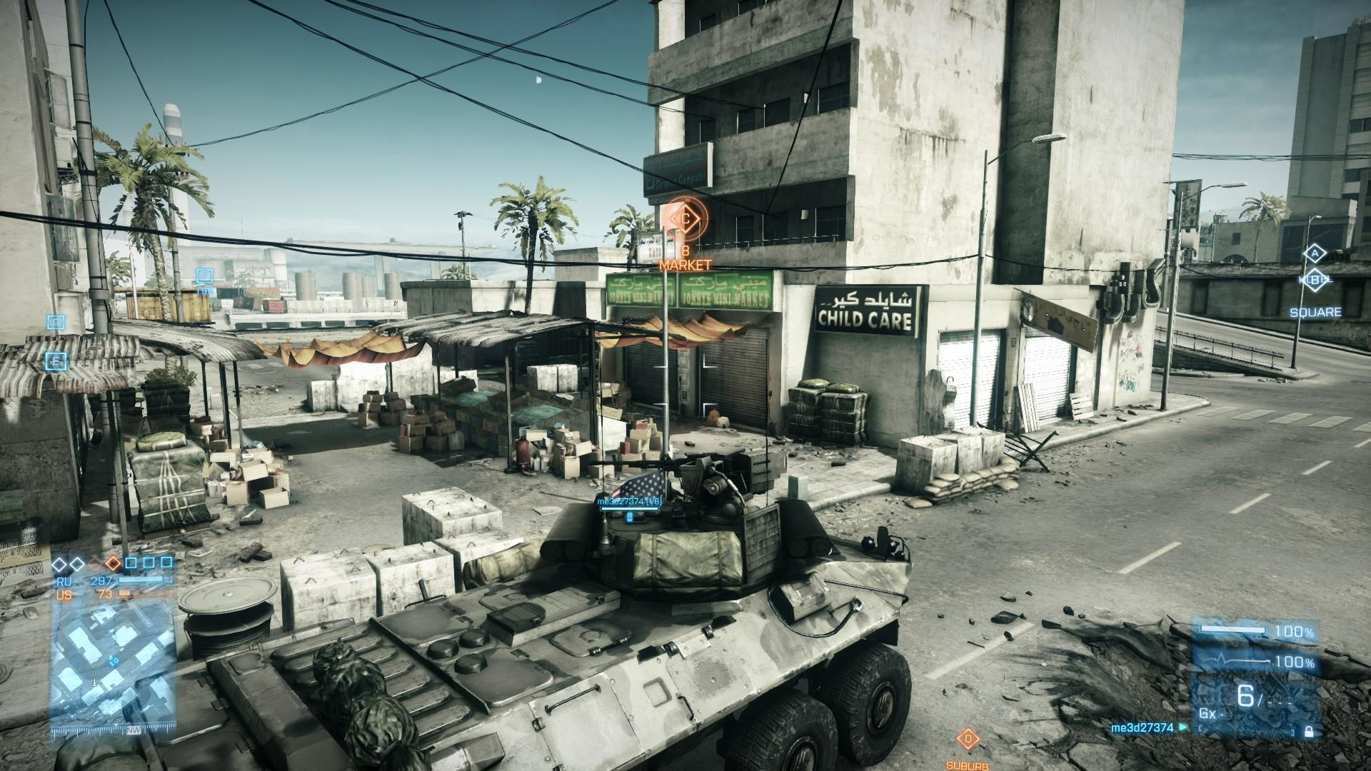 Battlefield 3: Back to Karkand Windows Using the LAV-25  Infantery Fighting Vehicle to take the flag at Market
