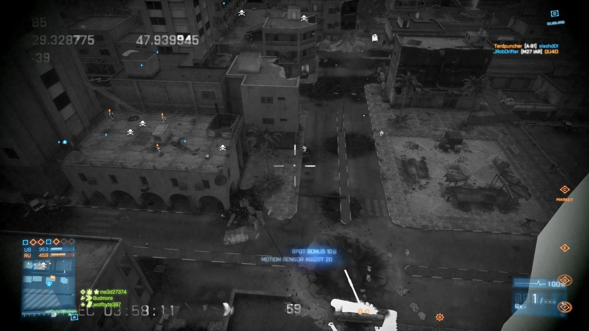 Battlefield 3: Back to Karkand Windows Using the Recon kit and MAV pointing out targets over Karkand square enemy on the rooftops