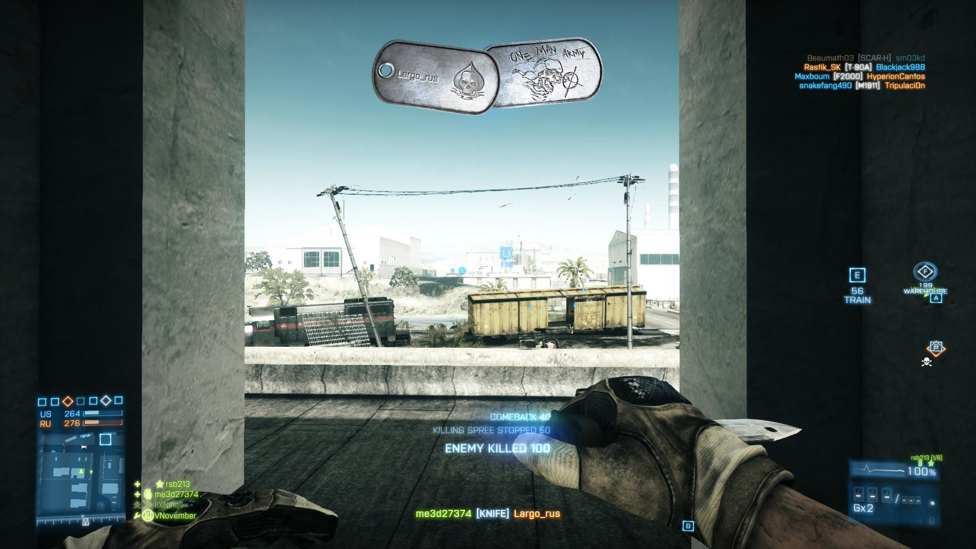 Battlefield 3: Back to Karkand Windows Sneaking up on enemy and knifed them collecting dog tags near train wreck on Karkand map