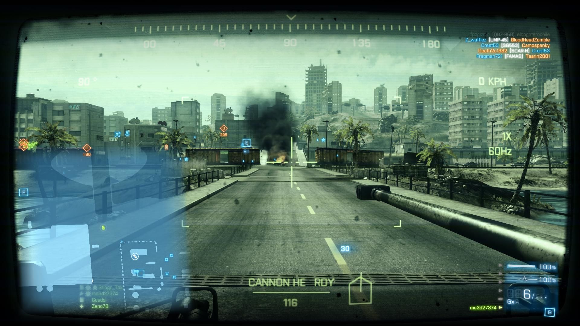 Battlefield 3: Back to Karkand Windows In Infantery Fighting Vehicle crossing bridge back by warehouse