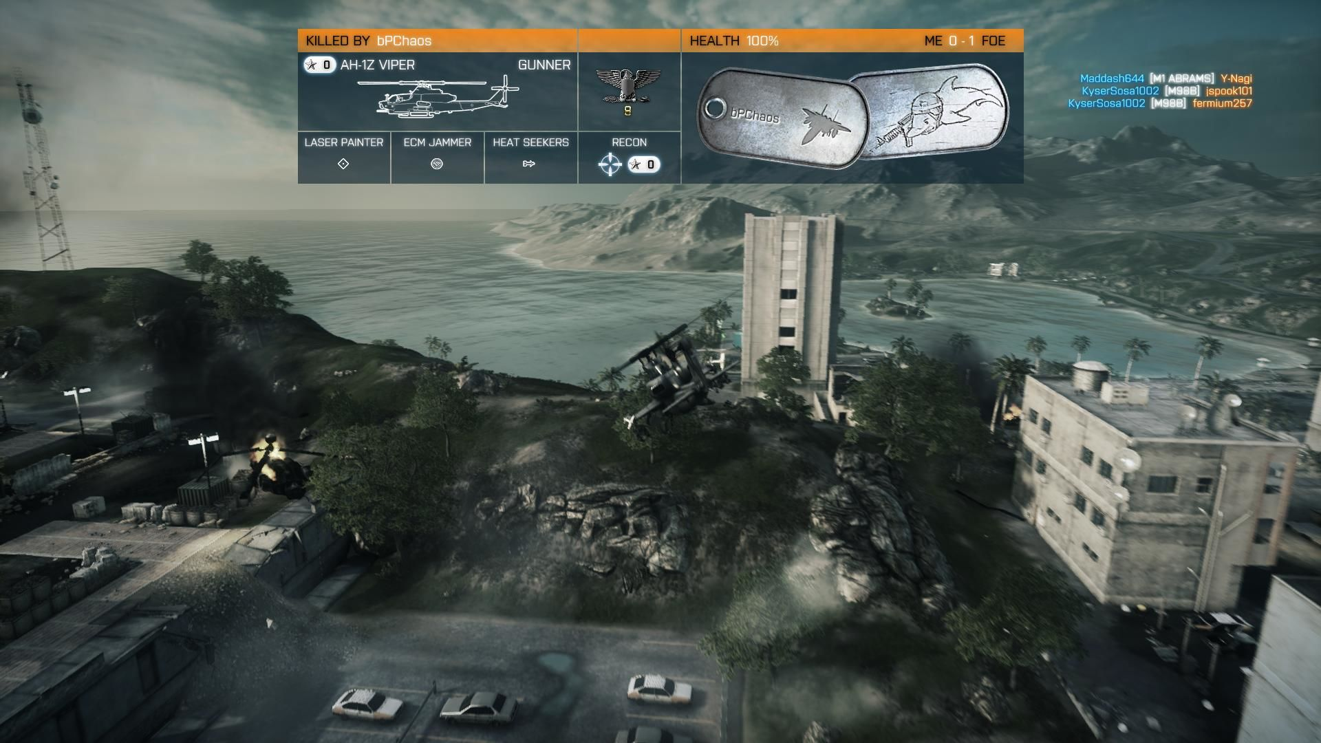 Battlefield 3: Back to Karkand Windows Killcam shows the AH-1Z attack chopper