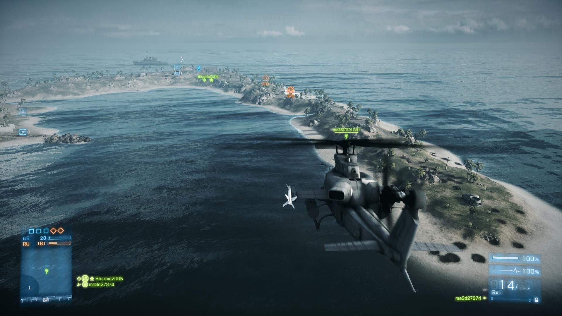 Battlefield 3: Back to Karkand Windows Flying US attack chopper 3rd person view of Wake Island below
