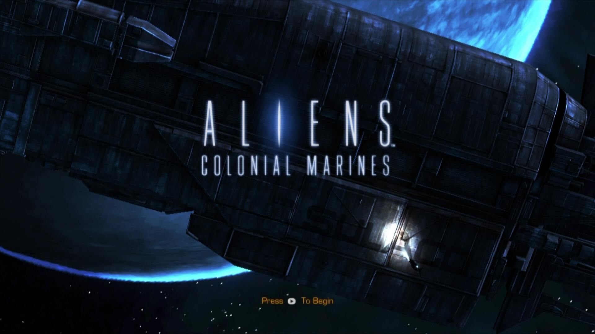 Aliens: Colonial Marines Xbox 360 Title screen... check the name of the ship in the background!