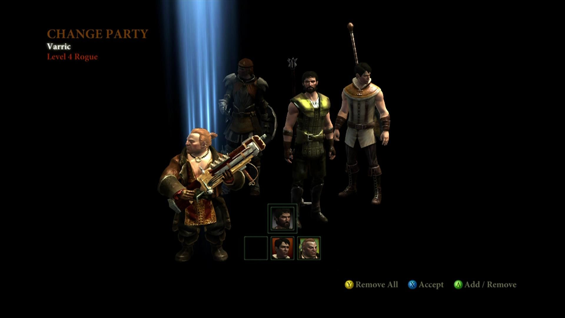 Dragon Age II Xbox 360 Party selection screen
