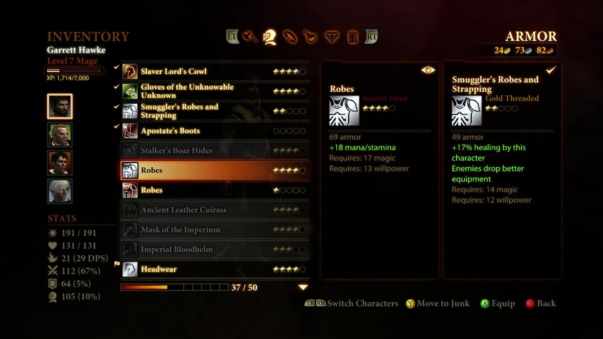 Dragon Age II Xbox 360 Inventory screen including item comparison