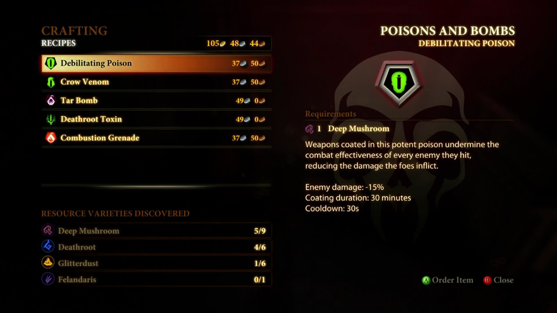 Dragon Age II Xbox 360 Crafting screen
