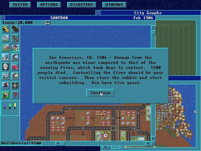 SimCity: Enhanced CD-ROM DOS The enhanced cd-rom version uses a 640x480 resolution and uses a windows like style.
