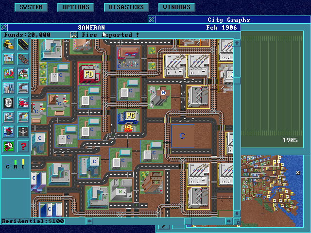 SimCity: Enhanced CD-ROM DOS After the action news you return to the city to the location where the fire is. Oh no, the Police station is on fire!