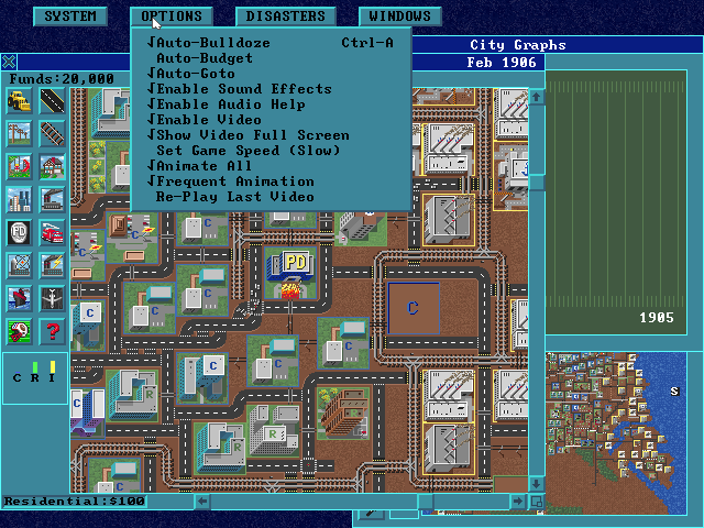 SimCity: Enhanced CD-ROM DOS Menu options