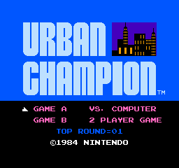 Urban Champion NES Title Screen