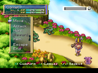 Rhapsody: A Musical Adventure PlayStation Battle in a forest. Options