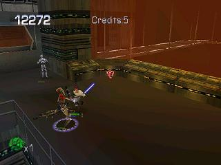 Star Wars: Episode I - Jedi Power Battles PlayStation Time to slash the last enemy droid here.