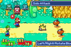 Mario & Luigi: Superstar Saga Game Boy Advance Battle menu