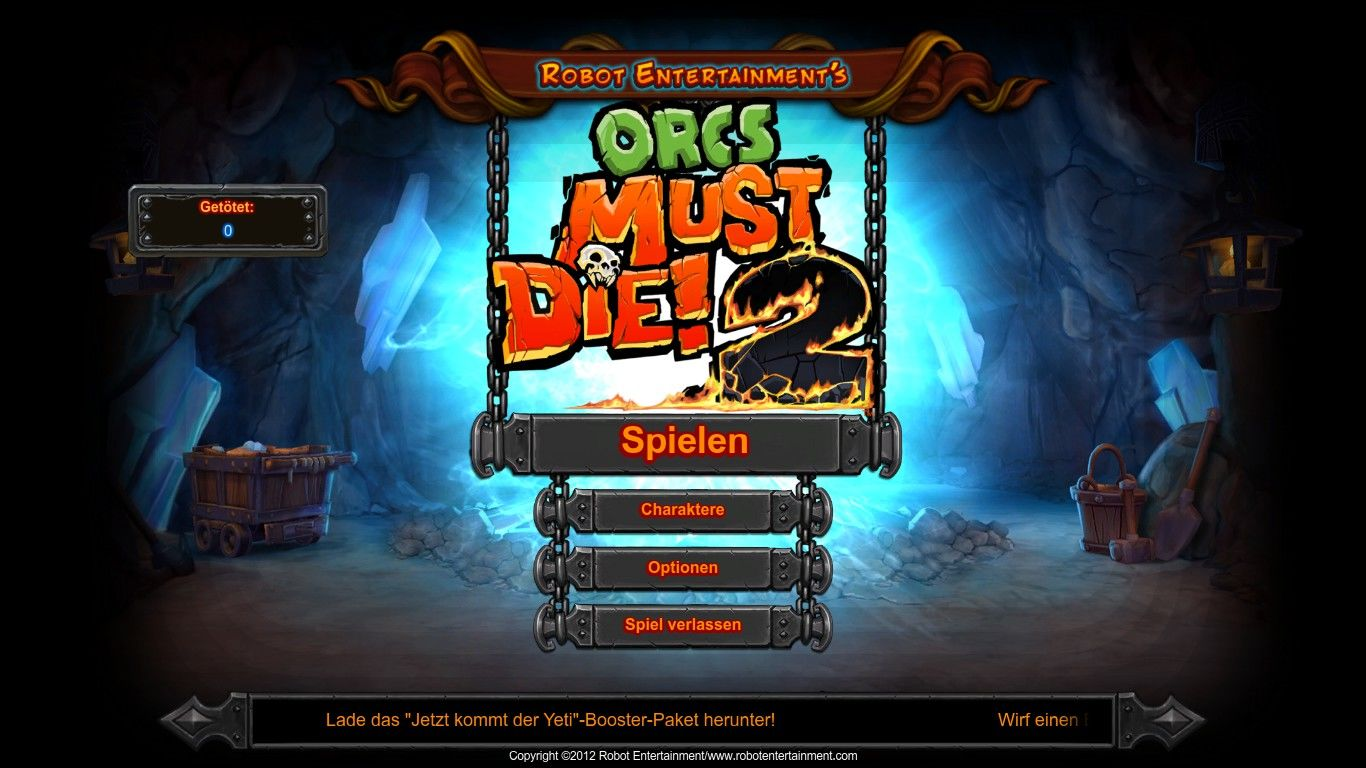 Orcs Must Die! 2 Windows Main menu