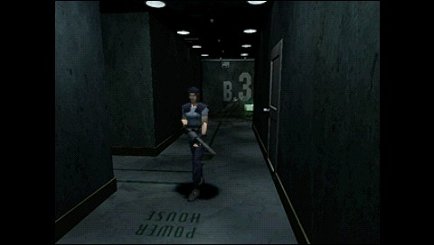 Resident Evil: Director's Cut PSP Jill walking alone in Umbrella lab, grenade launcher guarantees a certain degree of safety