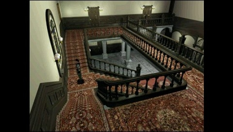 Resident Evil: Director's Cut PSP Arrange mode: new camera angle and better detailed backgrounds (or so it seems)