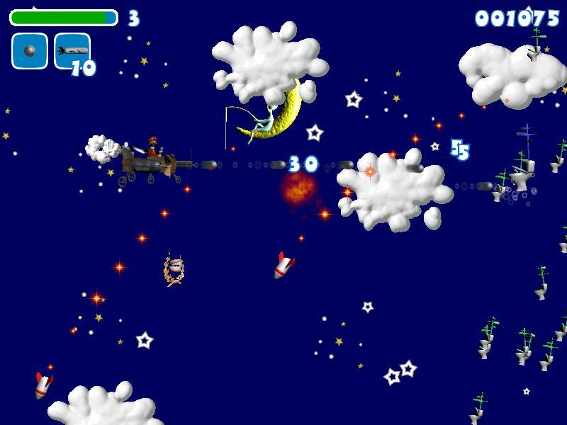 El Airplane Windows The 'Blue Sky' level. Here the player is fighting their way through a flock of missile-firing flying toilets.  Hmmm, that boy fishing from the moon looks familiar.