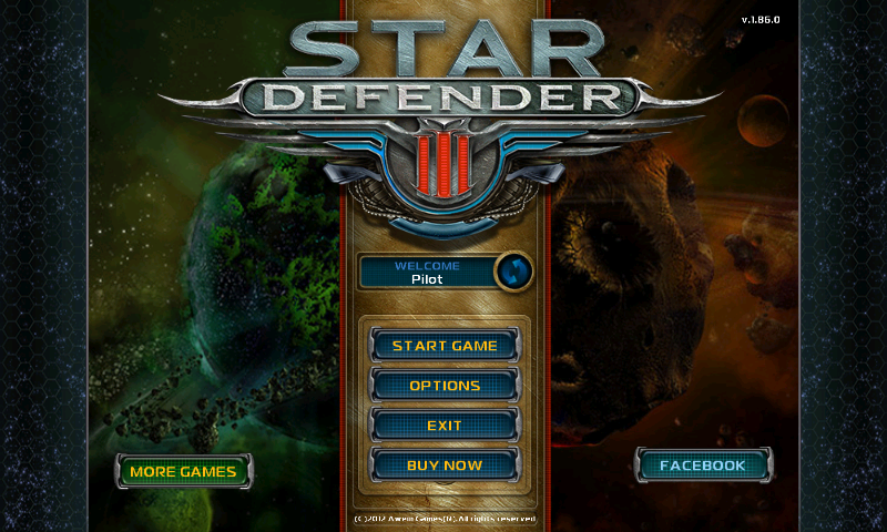 Star Defender III Android Main menu