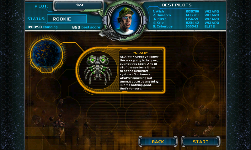 Star Defender III Android Mission screen