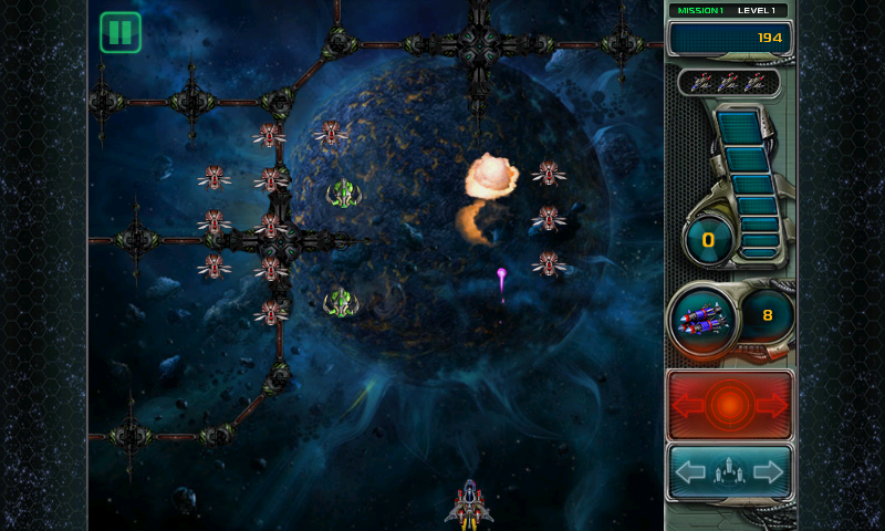 Star Defender III Android Enemies exploding as they are hit