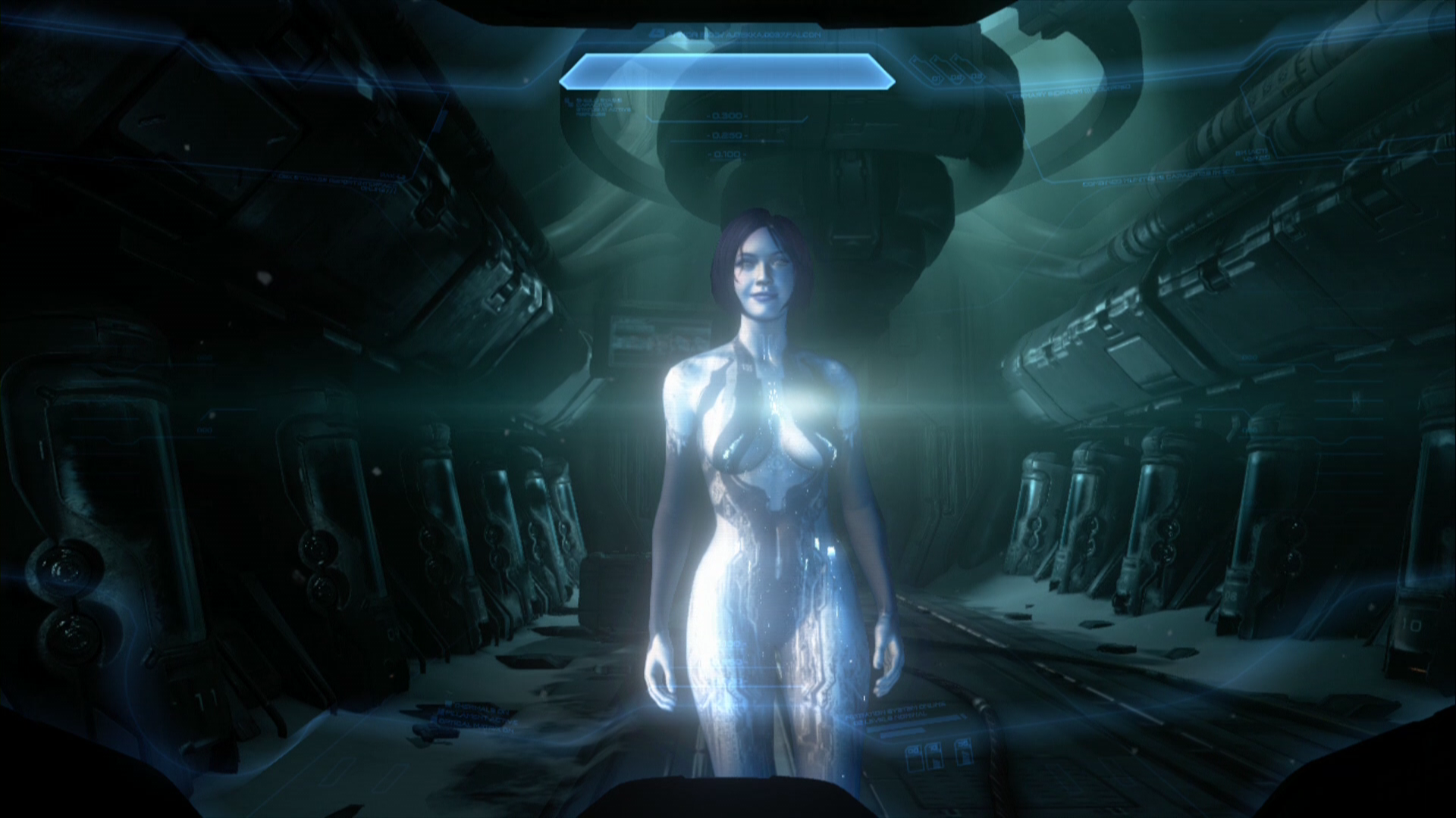 Halo 4 Xbox 360 Talking to Cortana after exiting the cryo-tube.