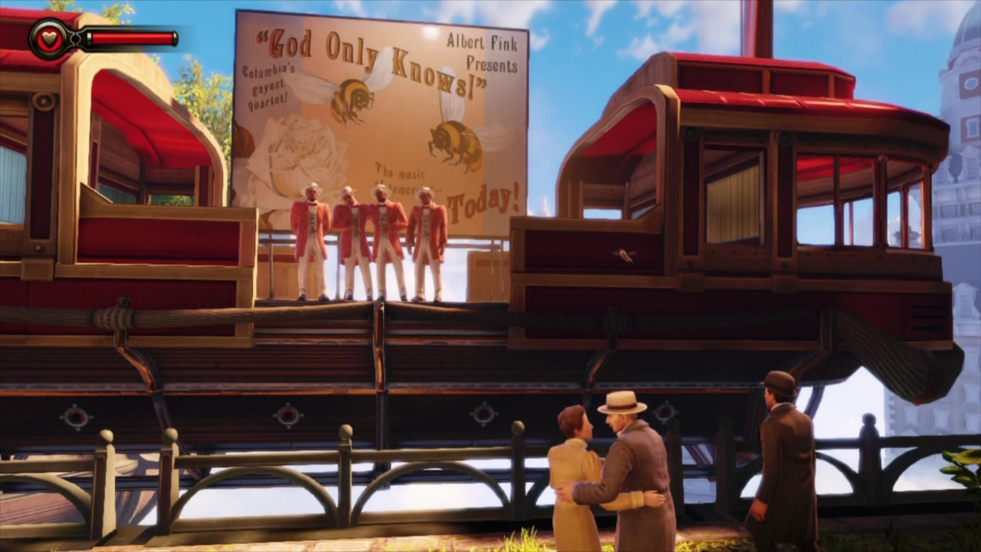 BioShock Infinite Xbox 360 The city strives with life, a quartet singing a song.