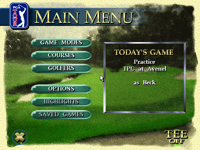 PGA Tour 96 DOS Main menu