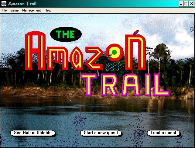 The Amazon Trail Windows 3.x Amazon Trail Menu, Hall of Shields = High score table