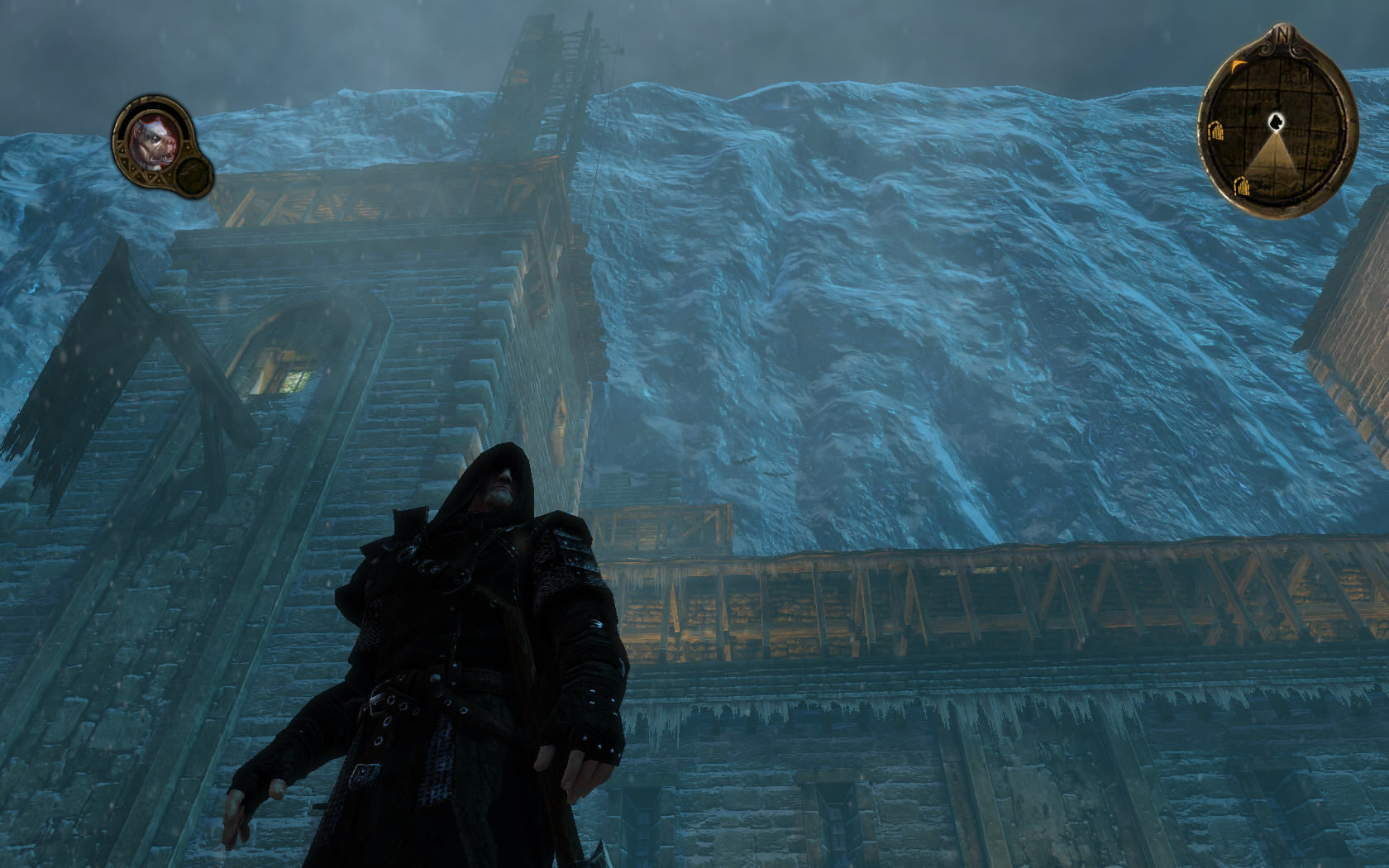 Game of Thrones Windows Mors is looking at the enormous wall of ice he has sworn to protect