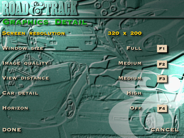 The Need for Speed DOS Graphic options