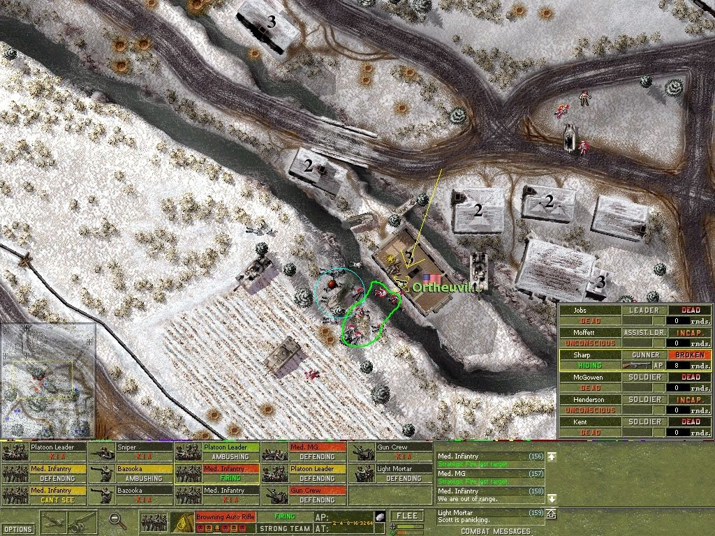 Close Combat: The Battle of the Bulge Windows Unbelievably, this one US soldier indicated (yellow arrow) was able to wipe out a whole German unit (green) AND destroy the halftrack (blue) before running out of ammo & surrendering to the German Heavy Infantry unit closing in.