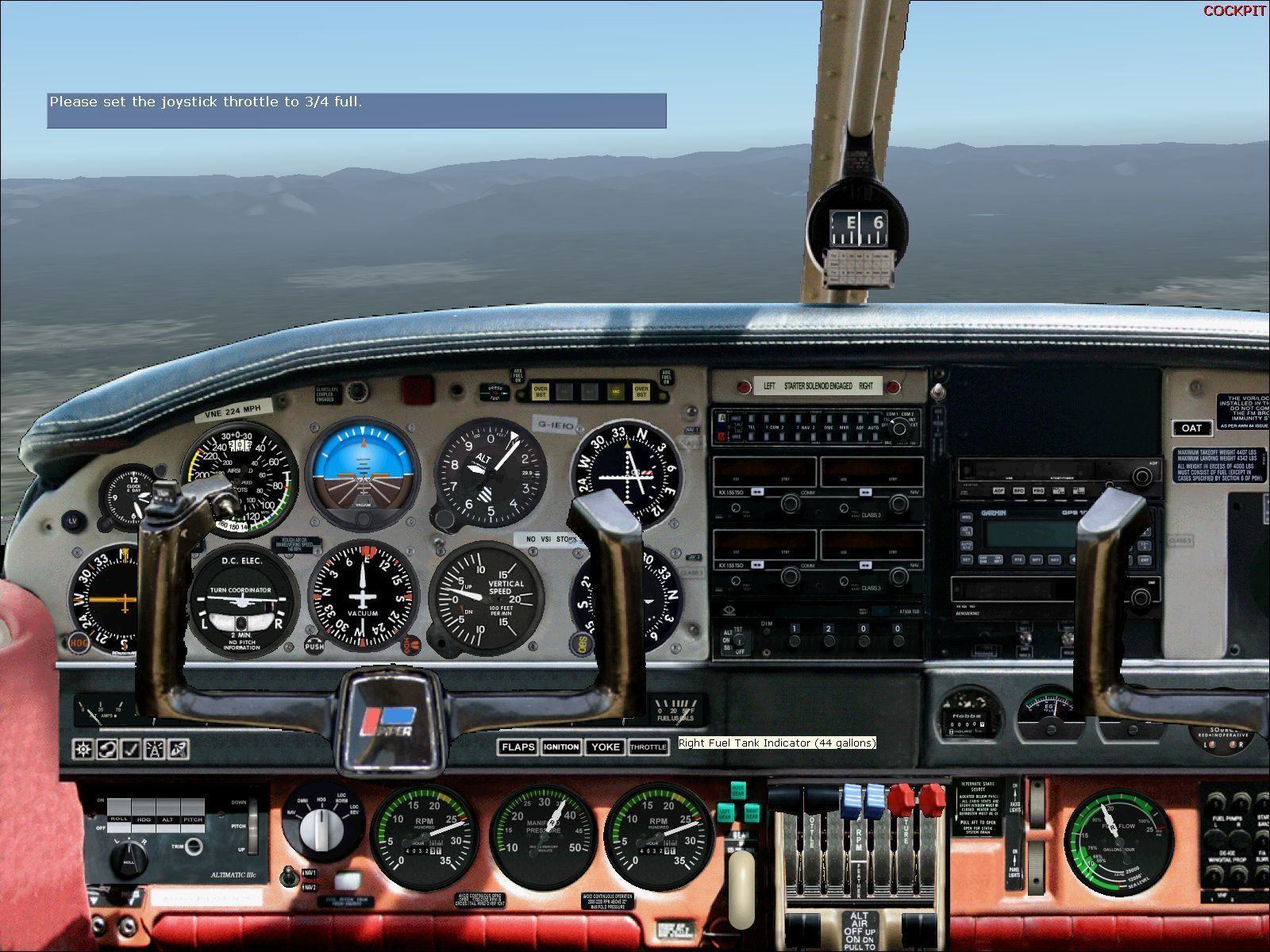 Flying Club Windows The flight simulator's Commercial Pilot lessons with Rod Machado have been altered to use the Seneca II PA34-200T. This is the instrument panel