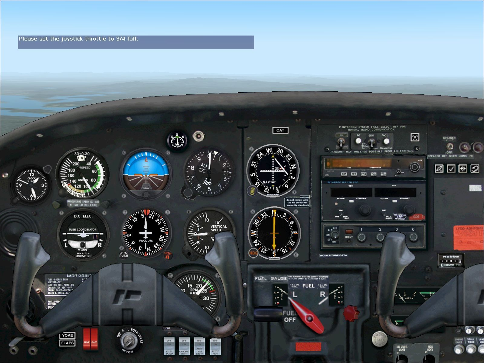 Flying Club Windows The flight simulator's Student lessons with Rod Machado have been altered to use the PA-38 Tomahawk. This is its instrument panel.