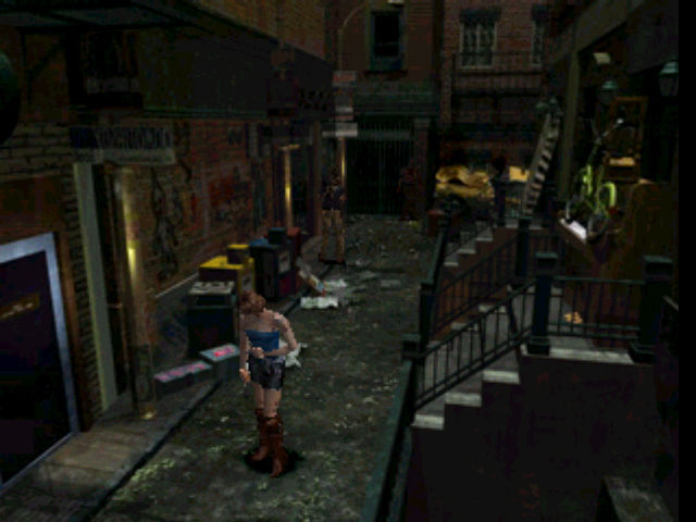 Resident Evil 3: Nemesis PlayStation Alone, bleeding, and in a dark alleyway