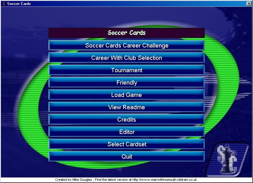 Soccer Cards Windows Main Menu