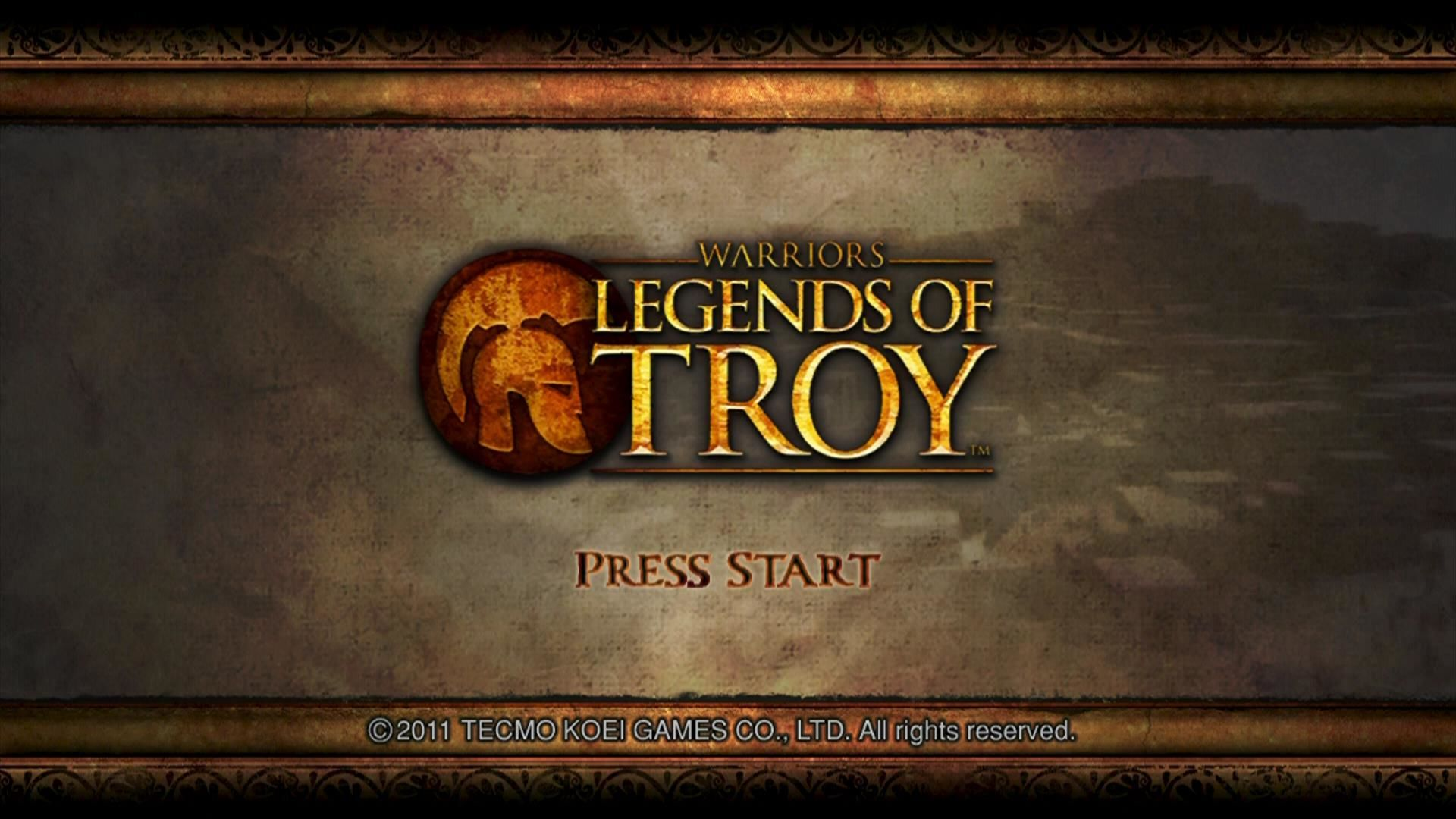 Warriors: Legends of Troy Xbox 360 Start screen