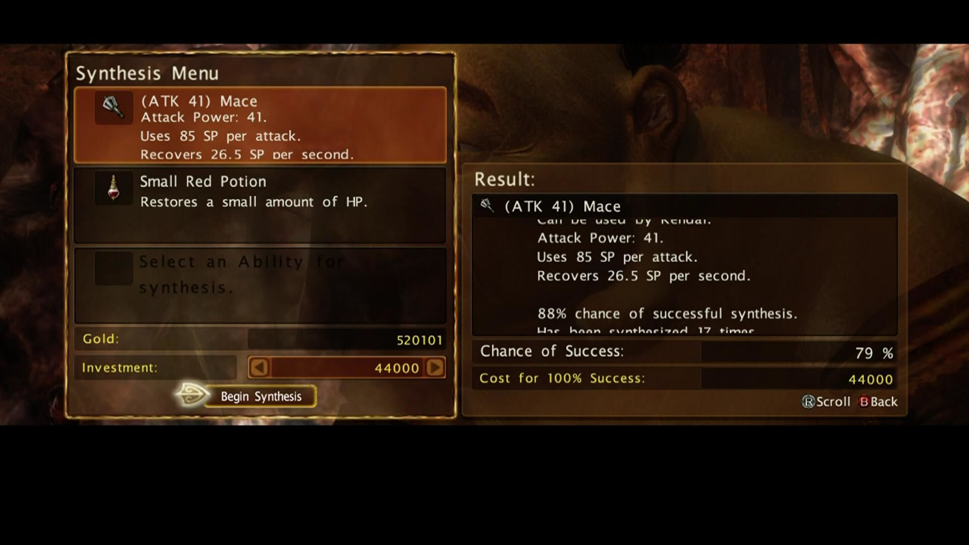Kingdom Under Fire: Circle of Doom Xbox 360 Synthesize items to increase stats and add effects.