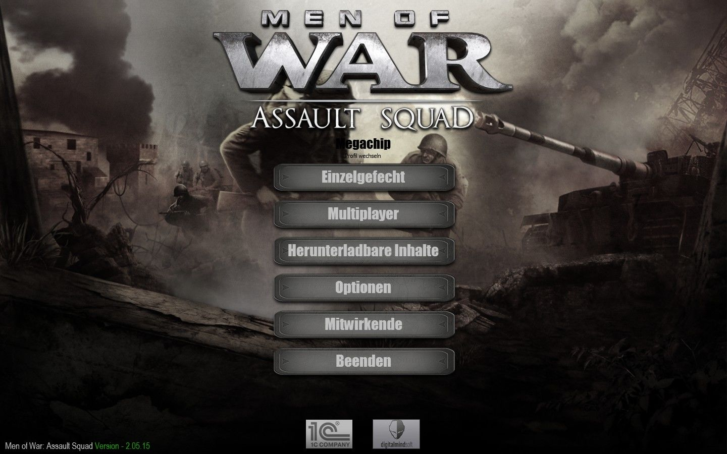 Men of War: Assault Squad Windows Main menu (German)