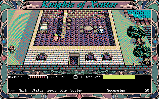 Knights of Xentar DOS You can change the map type into this weird-looking 3D instead of 2D