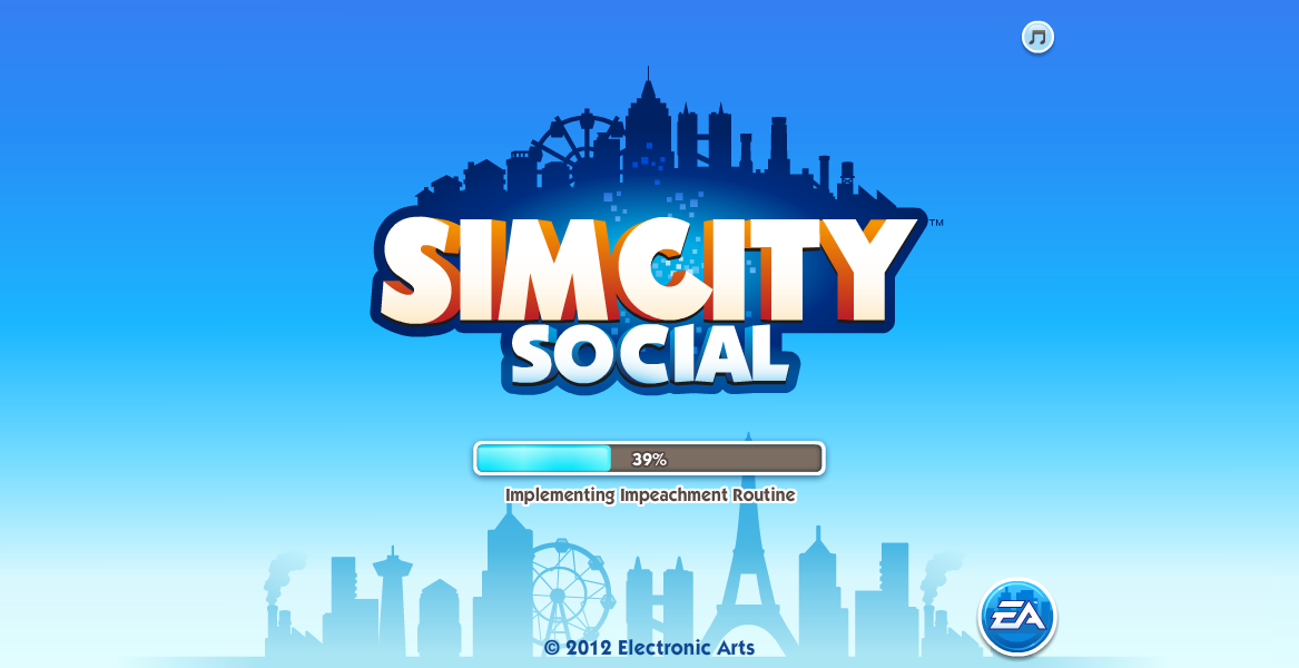 SimCity Social Browser Loading screen.