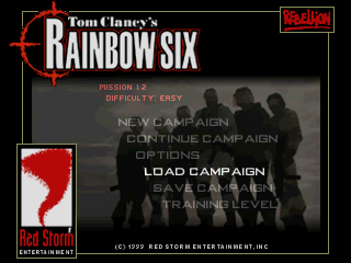 Tom Clancy's Rainbow Six PlayStation Main Menu.