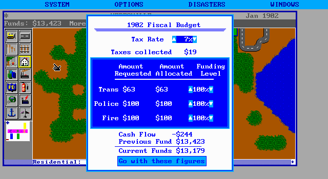 SimCity DOS Financial stats - in minus