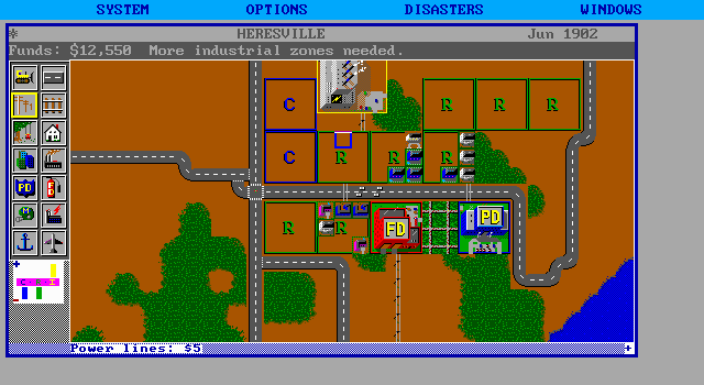 SimCity DOS Now village - mission: from zero to city.