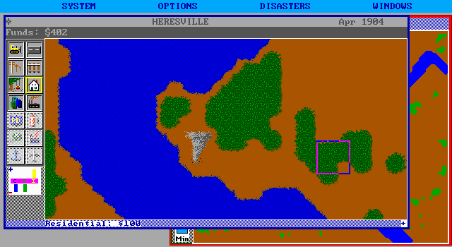 SimCity DOS Tornado - far away from city