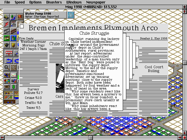 SimCity 2000 DOS Newspaper